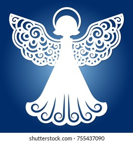 Laser cutting christmas angel.A template for laser cutting.Design elements for holiday cards.