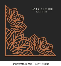 Laser cutting corner. Tapestry panel. Jigsaw die cut ornament. Lacy cutout silhouette stencil. Fretwork floral pattern. Vector template for paper cutting, metal and woodcut.