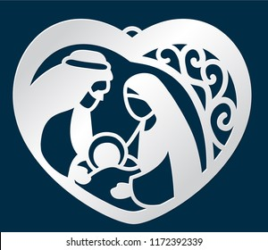 Laser cutting cute Christmas pendant template. Nativity scene with Holy Family in the shape of a heart. Merry Christmas bauble with Mary and Joseph holding baby. Vector illustration.
