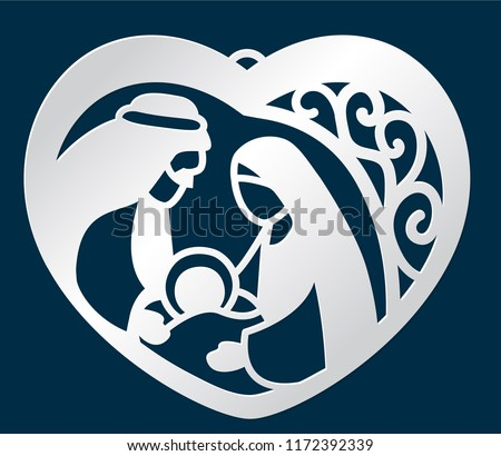 laser cutting cute christmas pendant template stock vector royalty