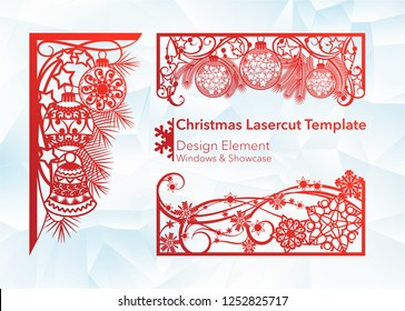 Laser cutting design for Christmas and New Year. A set of template of corner and horizontal elements to create a festive decor. Patterns for decorating a rectangular frame and border, windows, shop