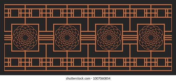 Laser cutting design for fencing, door, wall or window panel. Jigsaw die cut ornament. Lacy cutout silhouette stencil. Fretwork floral pattern. Vector template for carving, metal and woodcut.