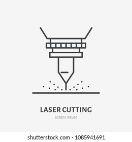 Laser cutting flat line icon. Metal works tool sign. Thin linear logo for stainless steel fabrication, figured carving services.