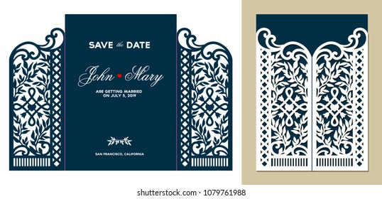 Laser cutting floral gate door fold card. Wedding invitation envelope. Vector illustration. Design silhouette. Paper cutout. Die cut template.