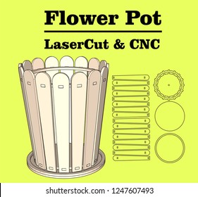 Laser cutting Flower Pot. without using glue. for wood 3 mm. Size: 10 x 12 cm