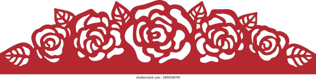 Laser cutting flower rose border. Vector template for laser cut, papercut, silhouette stencil cameo cricut.