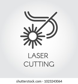 Laser cutting icon drawing in outline design. Abstract flash and lines. Graphic web pictograph. Technology concept contour sign. Vector illustration of laser series