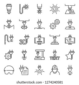 Laser cutting icons pack. Isolated laser cutting symbols collection. Graphic icons element