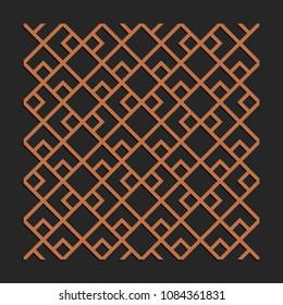 Laser cutting interior panel. Woodcut vector trellis design. Plywood lasercut square tiles. Square seamless patterns for printing, engraving, paper cut. Stencil lattice ornament.