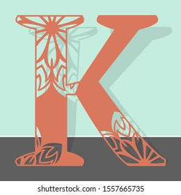 Laser cutting letter K. Woodcut vector design. Plywood lasercut gift. Pattern for printing, engraving, paper cut.