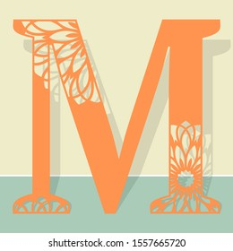 Laser cutting letter M. Woodcut vector design. Plywood lasercut gift. Pattern for printing, engraving, paper cut.
