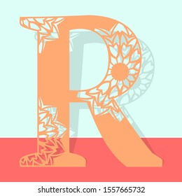 Laser cutting letter R. Woodcut vector design. Plywood lasercut gift. Pattern for printing, engraving, paper cut.