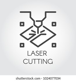 Laser cutting machine line icon. Special modern equipment for corving, engraving and other similar work on surface hard materials. Graphic web pictograph. Technology contour sign. Vector illustration