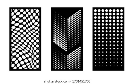 Laser cutting modern dotted abstract decorative vector panels set. Privacy fence,room devider, indoor and outdoor panel, cnc decor, interior screen design element. Laser cutting templates.