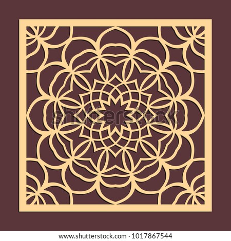 Laser Cutting Panel Golden Floral Pattern Gift Or Favor Box Silhouette Ornament Vector