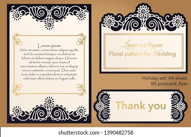 Laser cutting paper for weddings. Flower design for A4 letterhead, envelope, cover, folder, invitation, square frame for writing and greetings. Openwork cut paper for paper, cardboard. Place for text.