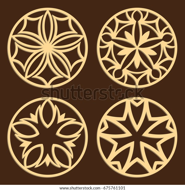 Laser Cutting Patterns Jigsaw Die Cut Stock Vector (Royalty Free
