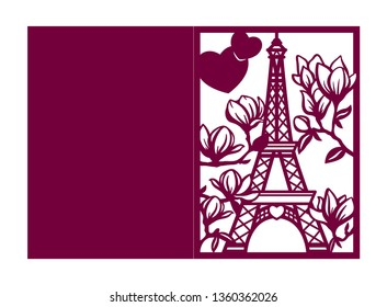 Laser cutting romantic template. Wedding invitation or greeting card with Paris Eiffel tower and blooming magnolia. Valentines day fold envelope. Die cut silhouette with hearts. Vector illustration.