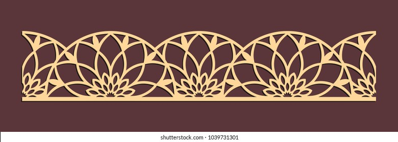 Laser cutting seamless border. Tapestry panel. Jigsaw die cut ornament. Lacy cutout silhouette stencil. Fretwork floral pattern. Vector template for paper cutting, metal and woodcut.