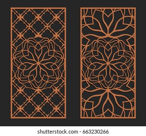 Laser cutting set. Wall panels. Jigsaw die cut ornaments. Lacy cutout silhouette stencils. Fretwork floral patterns. Vector template for paper cutting, metal and woodcut.
