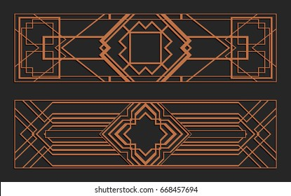 Laser cutting set. Wall panels. Jigsaw die cut ornaments. Art Deco cutout silhouette stencils. Fretwork patterns. Vector template for paper cutting, metal and woodcut.