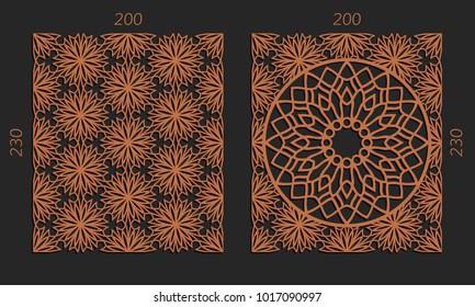Laser cutting set. Woodcut vector trellis panels. Plywood lasercut floral design. Hexagonal seamless patterns for printing, engraving, paper cut. Stencil lattice ornaments.