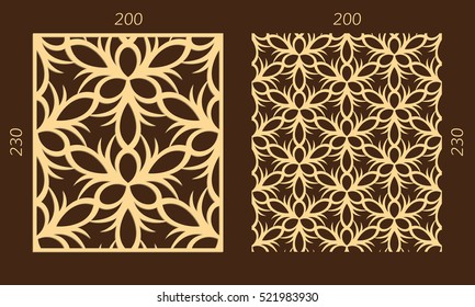 Laser cutting set. Woodcut vector panel. Plywood lasercut eastern design. Hexagonal seamless pattern for printing, engraving, paper cutting. Stencil ornament.