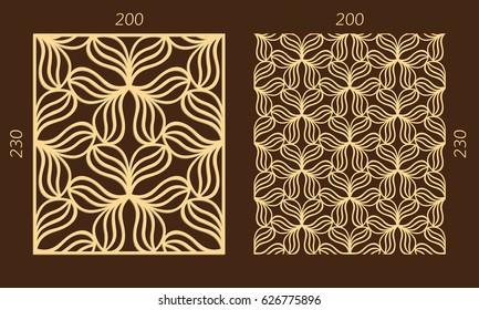 Laser cutting set. Woodcut vector trellis panel. Plywood lasercut eastern design. Hexagonal seamless pattern for printing, engraving, paper cutting. Stencil lattice ornament