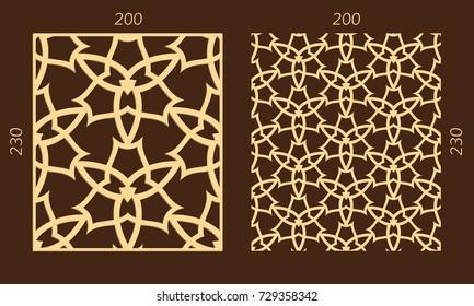 Laser cutting set. Woodcut vector trellis panel. Plywood lasercut eastern design. Hexagonal seamless pattern for printing, engraving, paper cutting. Stencil lattice ornament.