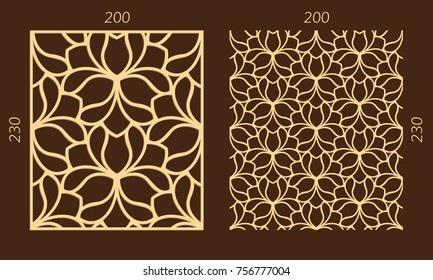 Laser cutting set. Woodcut vector trellis panel. Plywood lasercut eastern design. Hexagonal seamless pattern for printing, engraving, paper cutting. Stencil lattice ornament.