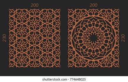 Laser cutting set. Woodcut vector trellis panels. Plywood lasercut floral design. Hexagonal seamless patterns for printing, engraving, paper cut. Stencil lattice ornaments.