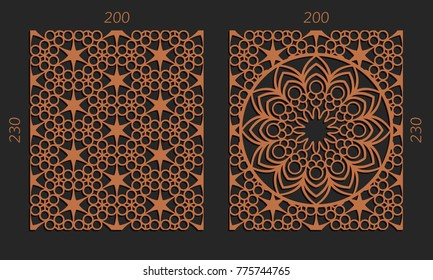 Laser cutting set. Woodcut vector trellis panels. Plywood lasercut floral design. Hexagonal seamless patterns for printing, engraving, paper cut. Stencil lattice ornaments