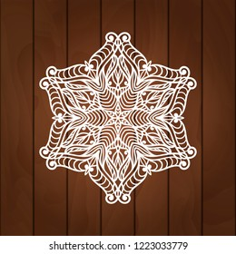 Laser cutting snowflake. Merry Christmas decoration for xmas tree. Snowlake for paper cutting, wood carving and christmas decorations. Christmas snow decore. Vector snowflake illustration