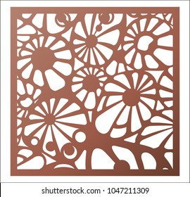 Laser cutting square panel. Abstract Openwork floral pattern. Perfect for gift box silhouette ornament, wall art, screen, panel fence, partition, gate  or coaster. Vector design template for cutting