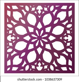 Laser cutting square panel. Openwork floral pattern with mandala. Perfect for gift box silhouette ornament, wall art, screen, panel fence, partition, gate  or coaster. Vector design template for cut