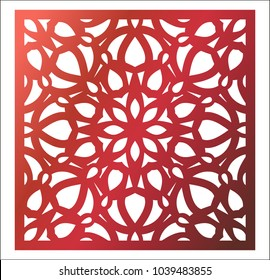 Laser cutting square panel. Openwork floral pattern with mandala. Perfect for gift box silhouette ornament, wall art, screen, panel fence, partition, gate  or coaster. Stock vector