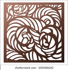 Laser cutting square panel. Openwork abstract pattern. Perfect for gift box silhouette ornament, wall art, screen, panel fence, partition, gate  or coaster. Vector design template for cutting