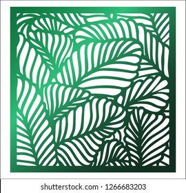 Laser cutting square panel. Openwork floral pattern with tropical leaves. Perfect for silhouette ornament, wall art, screen, panel fence, partition, gate, coaster. Vector design template for cutting