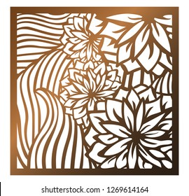 Laser cutting square panel. Openwork floral pattern with flowers and leaf. Perfect for silhouette ornament, wall art, screen, panel fence, partition, gate, coaster. Vector design template for cutting