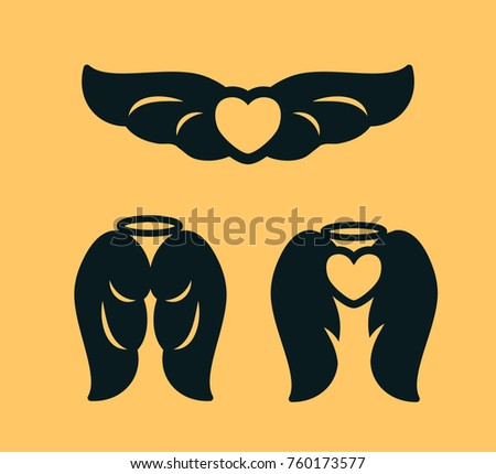 Laser Cutting Template Angel Wings Heart Stock Vector (Royalty Free ...