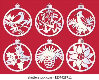 Laser cutting template. Big set of Christmas decorations - balls with bird, mistletoe, fir branch, pine cone, holly berry, poinsettia. Paper cut out New Year theme. Vector Illustration