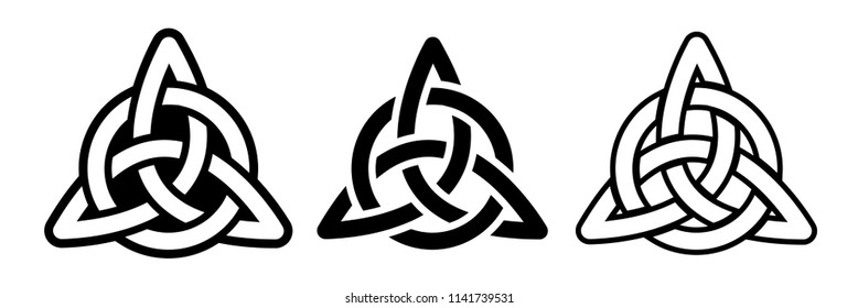 Laser cutting template of celtic trinity knot. Die cut vector illustration. Round geometric irish design. Black and white silhouette. Stencil. Tattoo.