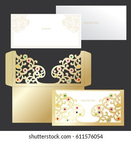 Laser cutting template of cover. Golden openwork envelope with a floral ornament and invitation. Vector layout.