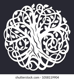 Laser cutting template. Decorative celtic tree of life. Paper cutout design. Vector silhouette. Wood or metal cutting. Family tree. Die cut decoration.