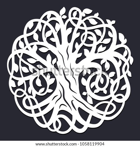 Laser Cutting Template Decorative Celtic Tree Stock Vector Royalty