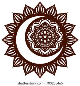 Laser cutting template. Die cut card. Flower Mandala.  Black Moon and Sun Mandala. Oriental pattern, vector illustration. Islam, arabic, indian, moroccan, turkish, pakistan, chinese, mystic motifs