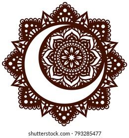 Laser cutting template. Die cut card. Flower Mandala.  Black Moon and Sun Mandala. Oriental pattern, vector illustration. Islam, arabic, indian, moroccan, turkish, pakistan, chinese, mystic motifs