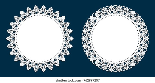 Laser cutting template. Lace doily place mats, antique design, holiday palette for Christmas, scrapbooks, setting table, cake decorating. Die cut card with snowflake, New Year tree  and heart pattern.