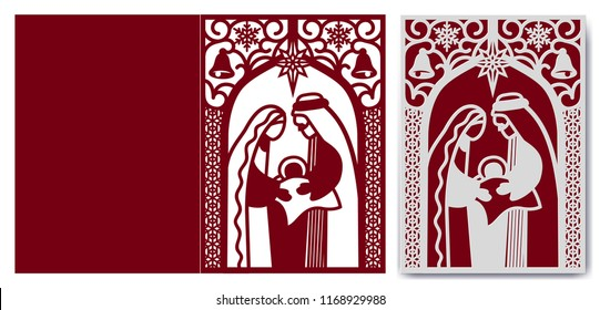 Laser cutting template. Nativity scene with Holy Family. Merry Christmas card with Mary and Joseph holding baby. Holy night die cut hold card. Vector illustration.