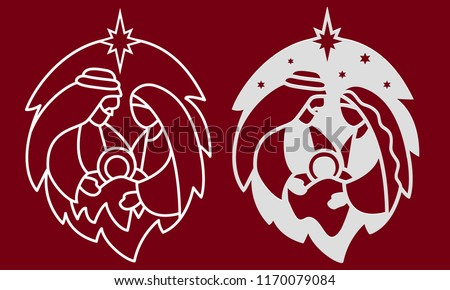 laser cutting template nativity scene holy stock vector royalty